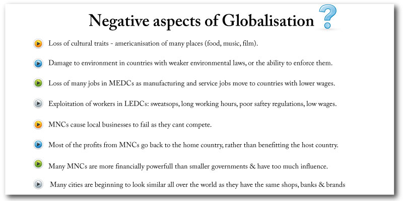 Globalisations negative effects